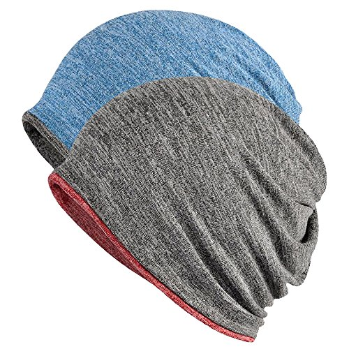 (FORTREE 2 Pack Multifunction Slouchy Beanie for Jogging, Cycling)