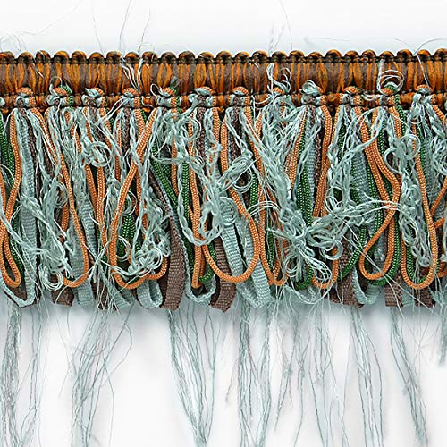 Loop Ribbon and Eyelash Fringe Trim Seafoam Multi ()