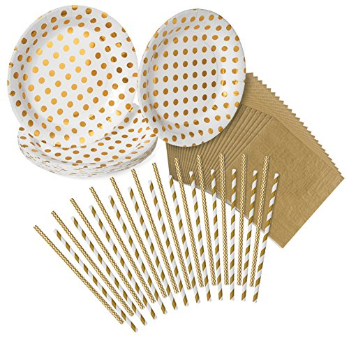 Gold Polka Dot, Chevron Pattern & Stripes Party Pack - 24 Paper Plates, 24 Napkins, 24 Paper Straws - by Haute Soiree (Paper Plates Striped)