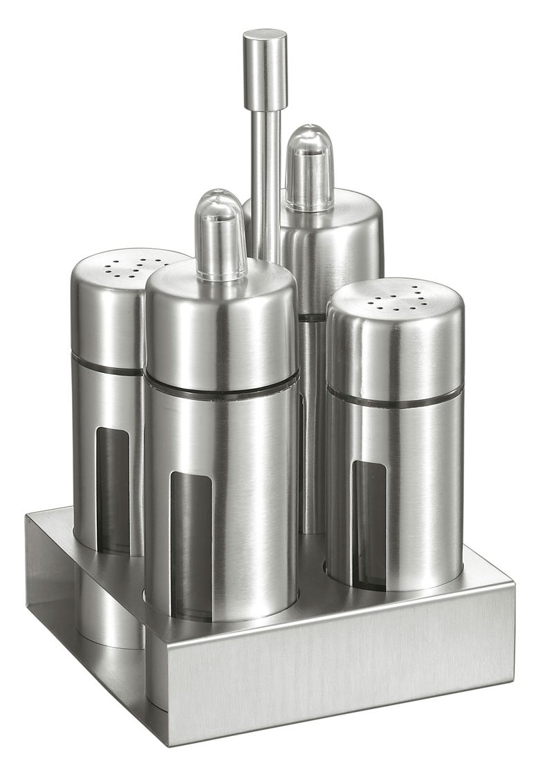 Visol Products Foxdale Stainless Steel Salt and Pepper Shakers, Oil and Vinegar Bottles Set, Silver