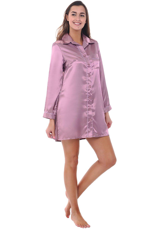 Alexander Del Rossa Womens Satin Nightgown, Long Boyfriend Style Button Front Sleep Shirt, Medium Wisteria (A0787WSTMD)