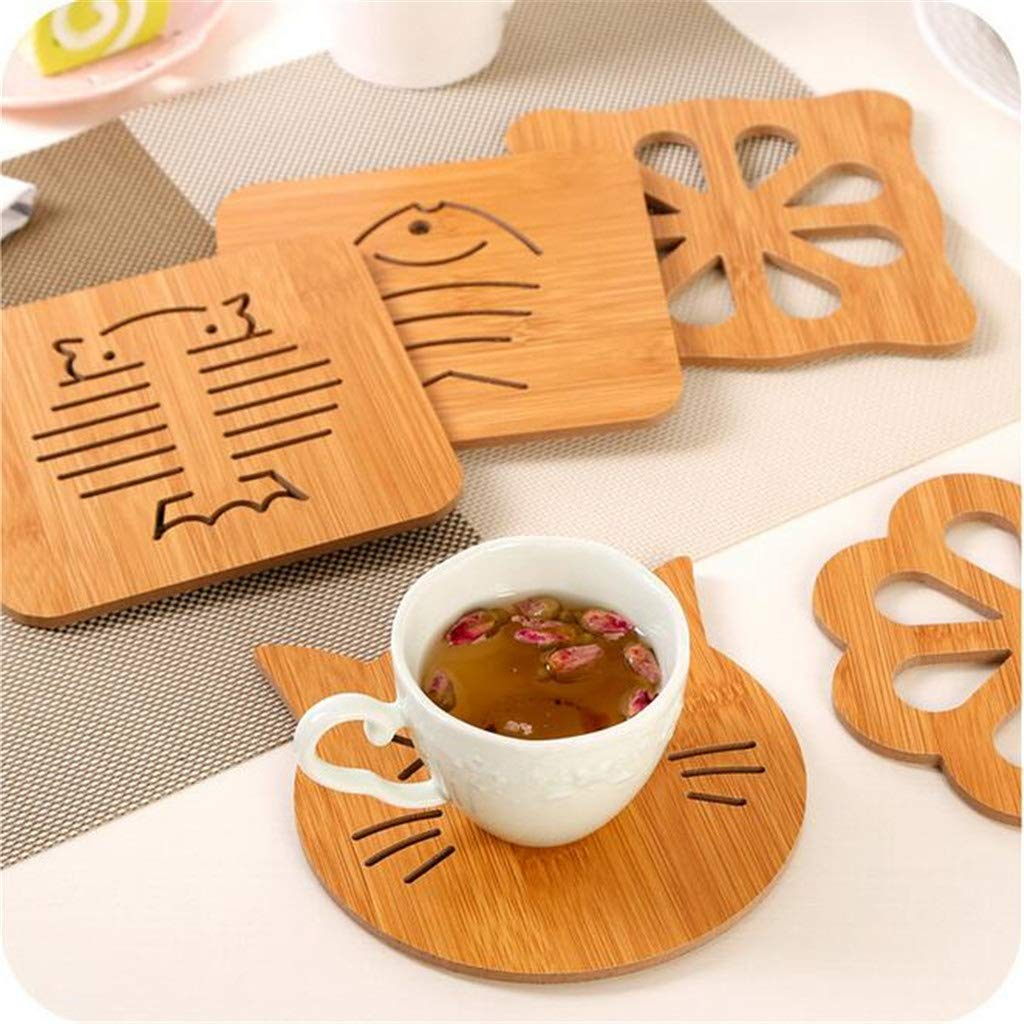 10PCS Bamboo Trivet Mats Hot Pot Pads Non-Slip for Kitchen Table Hot Dishes