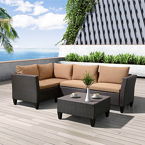 Patio Garden Furniture Sofa Set of 5 Pieces Resin Wicker Rattan Sectional Sofa with Cushions, Coffee Table with Tempered Glass, All Weather Resistant - Seat Conversation Leather Sofa