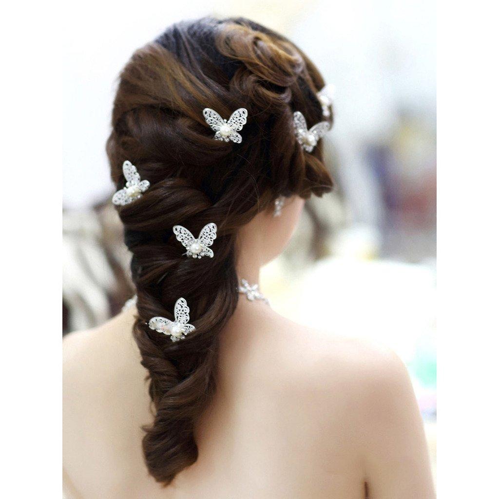 HuntGold 1 × Eleganter Schmetterling Strass Haarnadel Frauen Kopfbedeckung Haarnadel Für Hochzeit Feier (Silber)