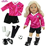 18 inch Doll Clothes Outfit, Fuchsia Doll Soccer Outfit 6 Pc. Set Complete Doll Sports Set of Fuchsia Shirt, Black Shorts, Do