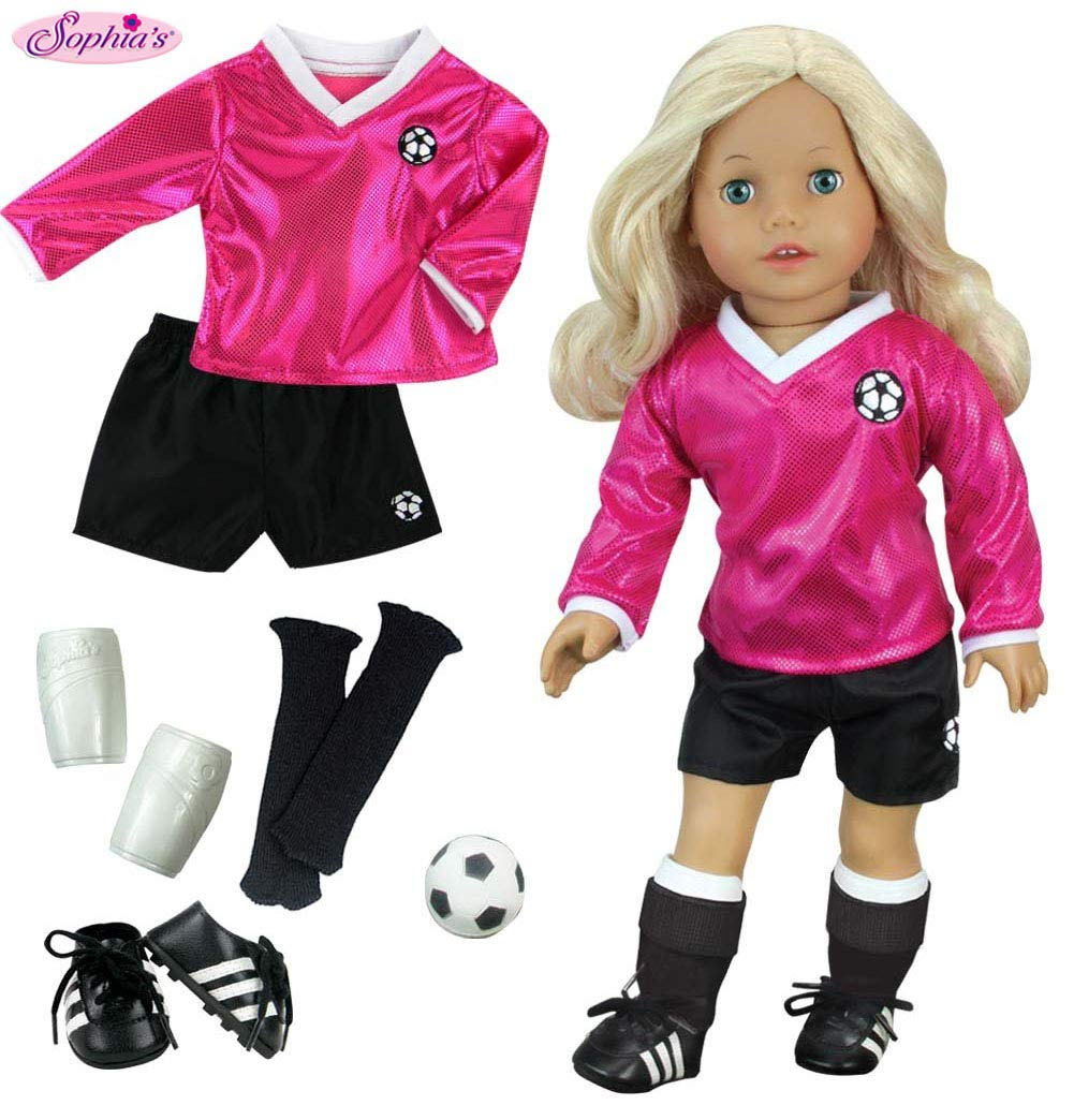 18 inch Doll Clothes Outfit, Fuchsia Doll Soccer Outfit 6 Pc. Set Complete Doll Sports Set of Fuchsia Shirt, Black Shorts, Doll Soccer Ball, Doll Black Socks & Doll Shoe Cleats by Sophia's