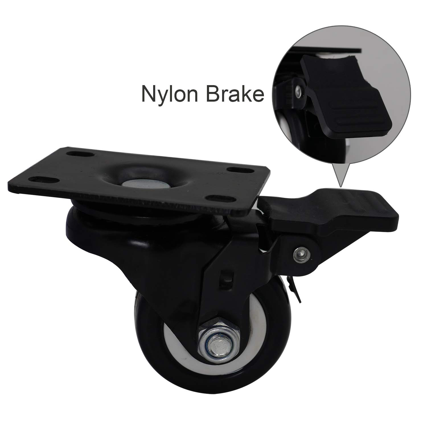 Pack of 4 Casoter 2 Inch Swivel Caster Wheels with Nylon Brake and Polyurethane Foam No Noise Wheels 150 Lbs Per Caster Heavy Duty