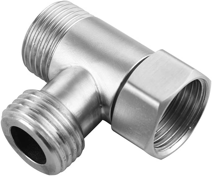 Ciencia 3-way Tee Connector Pex Tee 304 Stainless Steel T Adapter G 1/2 T Valve for Bidet, Sprayer, SBA020A