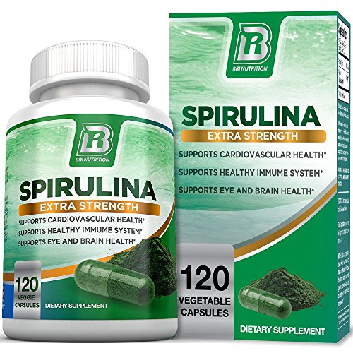 BRI Spirulina 2000mg Maximum Strength Premium Quality Spirulina Superfood Powder, Packed w Antioxidants, Protein and Vitamins in Easy to Swallow Vegetable Capsules (120 Count)