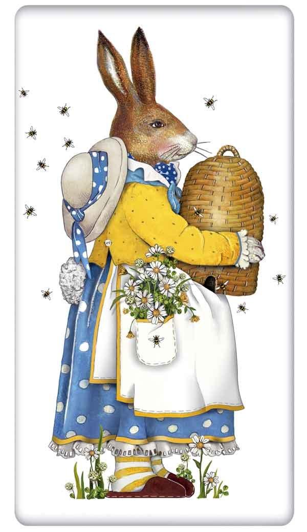 "Beehive Easter Rabbit Bunny Flour Sack Cotton Kitchen Dish Towel - 30"" x 30"" Mary Lake Thompson design"