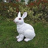 J-Beauty Outdoor White Rabbit Statue Garden Decor (A)