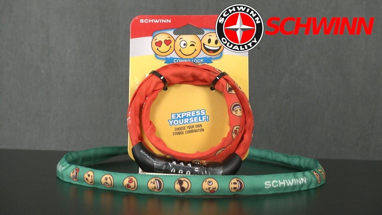 Schwinn Kids Emoticon Combo Bike Lock Kids Combination Lock GREEN Bike Lock