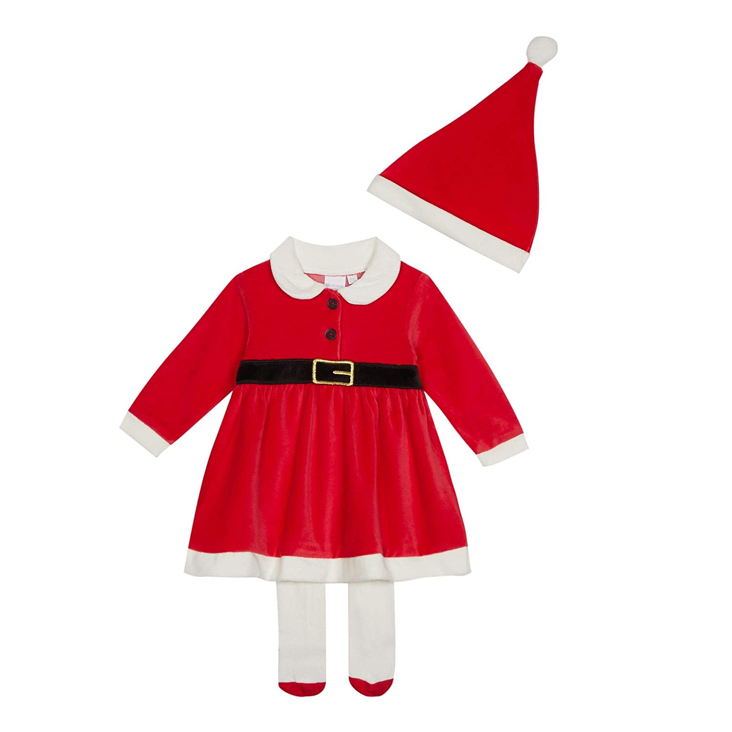 bluezoo Kids Baby Girls' Red 'Mrs Claus' Dress Set Hat Tights