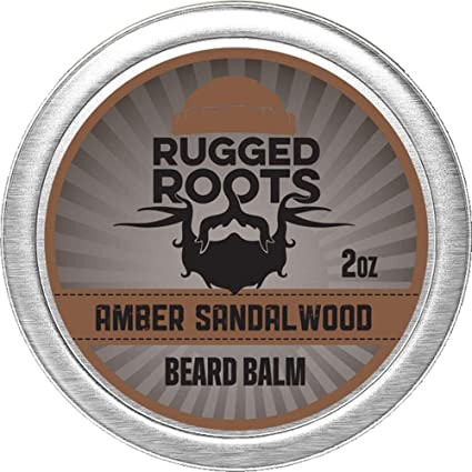 Beard Balm for Men by Rugged Roots - Hair Nourishing Beard Balm with Amber Sandalwood Scent for Healthy Shiny Beards - Encourage Beard Growth and Strengthen Hair - Unique Stocking Stuffers For Men best stocking stuffers for men