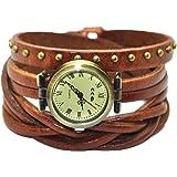 MINILUJIA Women's Watches Genuine Leather Wrist Wrap Watch Brown