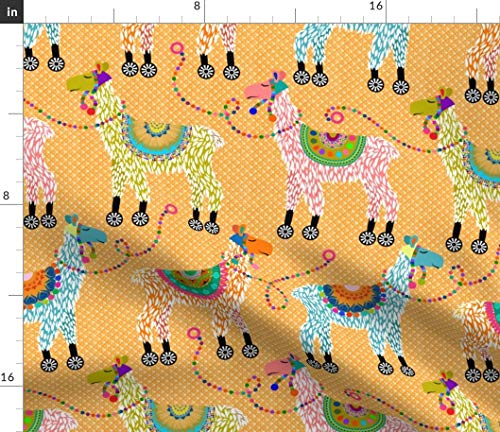 (Spoonflower Llama Fabric - Colorful Llama Toy Nursery Upholstery Decor Llama Toys Colorful Whimsy Animal Four Wheels by Vo Aka Virginiao Printed on Petal Signature Cotton Fabric by The Yard )