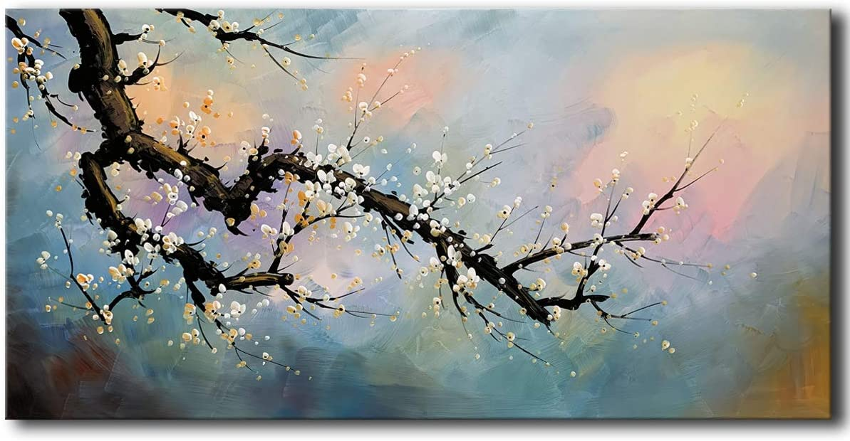 Hand Painted Plum Blossom Wall Art Flower Oil Painting on Canvas