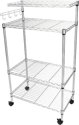 Knocbel Kitchen Baker's Rack Storage Rolling Cart Adjustable 4-Tier Metal Utility Shelves Microwave Oven Stand