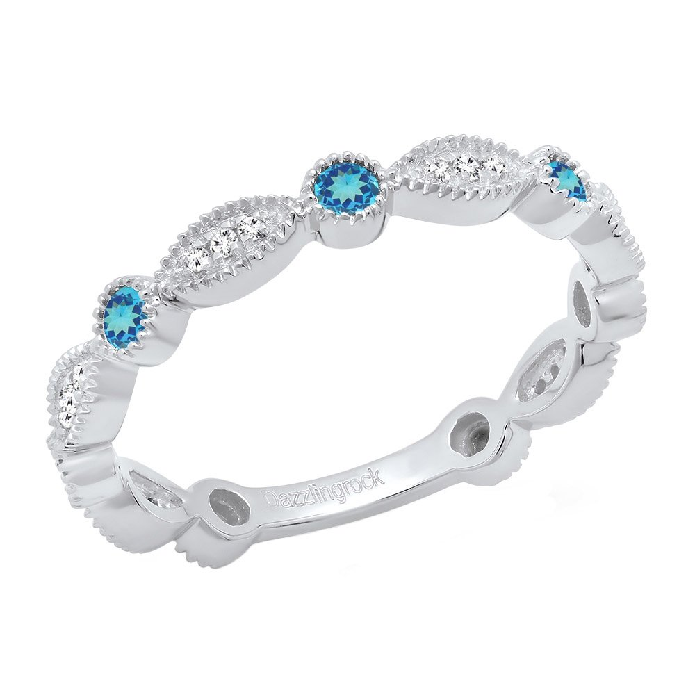14K White Gold Round Blue Topaz & White Diamond Ladies Stackable Wedding Band Ring (Size 8)