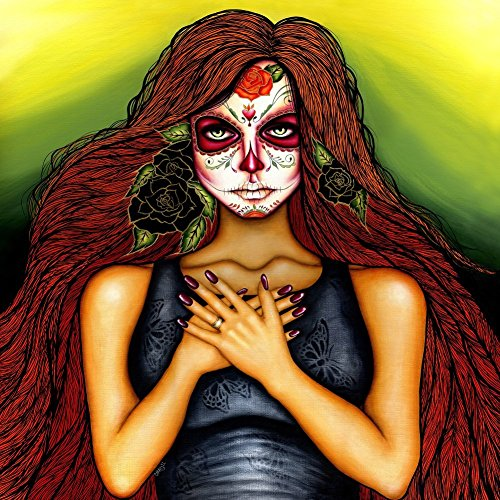[I Am With You by Cat Ashworth Mexican Day of the Dead Woman with Sugar Skull Tattoo Mask Canvas Fine Art Giclee] (Day Of The Dead Female Mask)