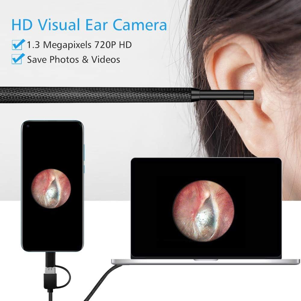 Otoscope sans fil oreille OOCOME nettoyage endoscope oreille cuill/ère multifonctionnel oreille avec outil de nettoyage de cam/éra mini soins de sant/é