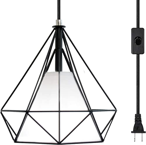 LuFun Industrial Plug in Pendant Light,Plug in Hanging Lamp with 16.4ft Hanging Cord and On Off Switch,Mini Chandeliers with Metal Cage Shape for Kitchen Island Bedroom Bar