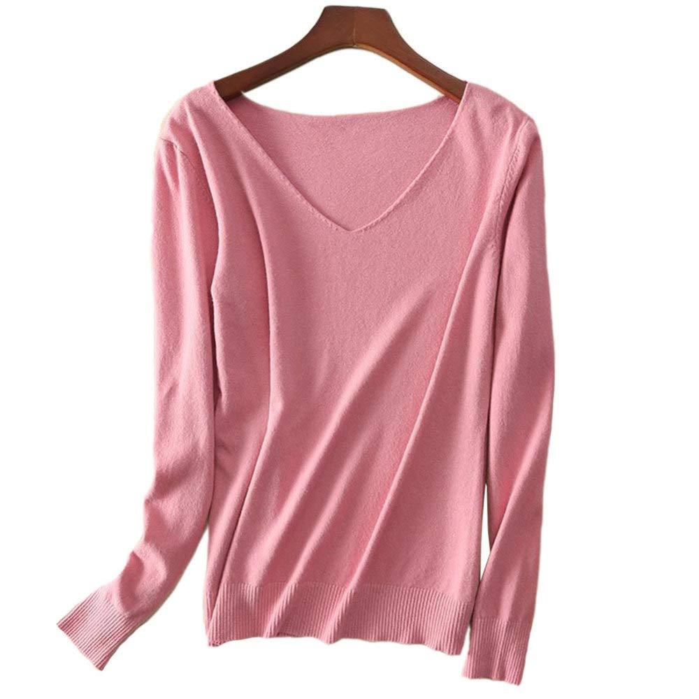QINJLI Female Knit v-Neck Simple Cashmere Pullover Long Sleeve Sweater Loose Cropped Knit Sweatshirt