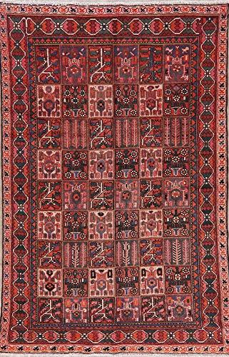 6X9 Vintage Garden Design Bakhtiari Oriental Area Rug Hand-Knotted Wool Carpet Bakhtiari Hand Knotted Rug