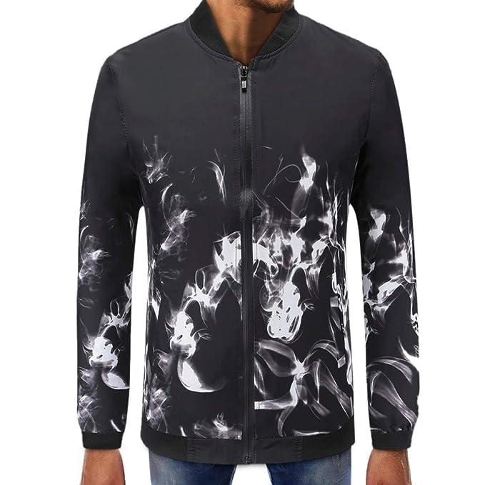 Gusspower Hombres Abrigo Manga Larga Estampado Chaqueta Capa Suéter Collar de pie de Tortuga Tops Blusa