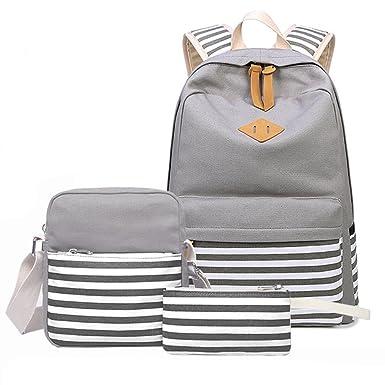 38c75b8dec9 Amazon.com | Canvas School Backpack Set for Teens Girls 3 Pieces ...