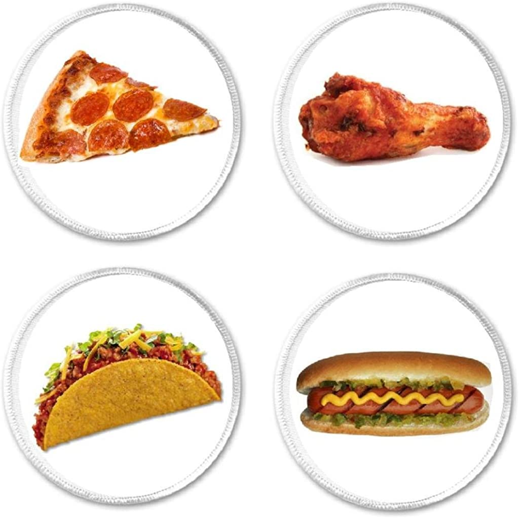 """Set of 4 Pizza Chicken Wing Taco Hot Dog Food - 3"""" Circle Sew/Iron On Patches"""