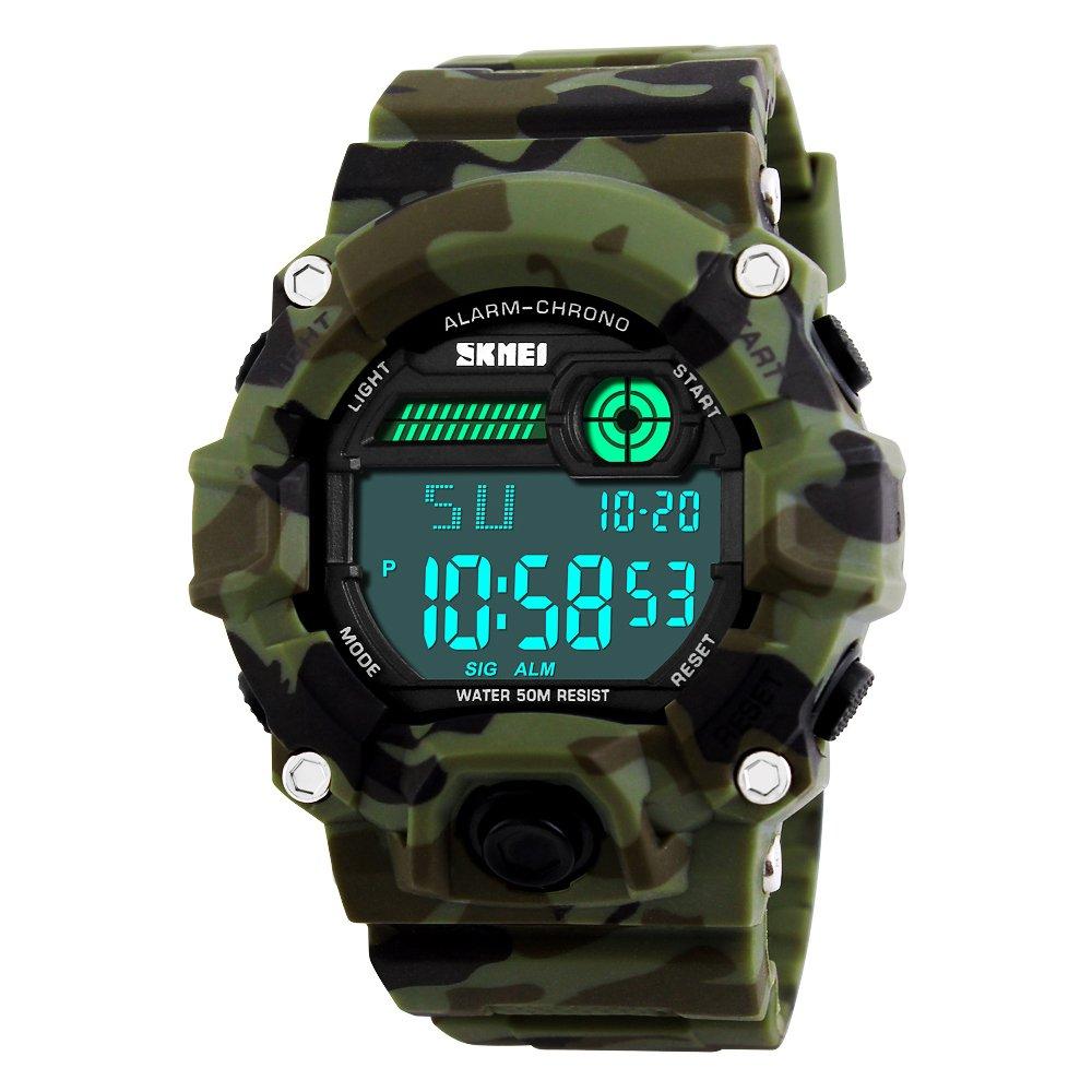 JOYSAE Men's Digital Sports Watches, Waterproof Military Wrist Watches with Alarm, Stopwatch, Luminous Calendar Backlight Wrist watch- Camouflage