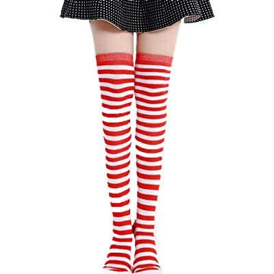 Womens Long Socks Striped Thigh High Socks Cotton Over the Knee Socks Leg Warmers Christmas stockings (Red): Clothing