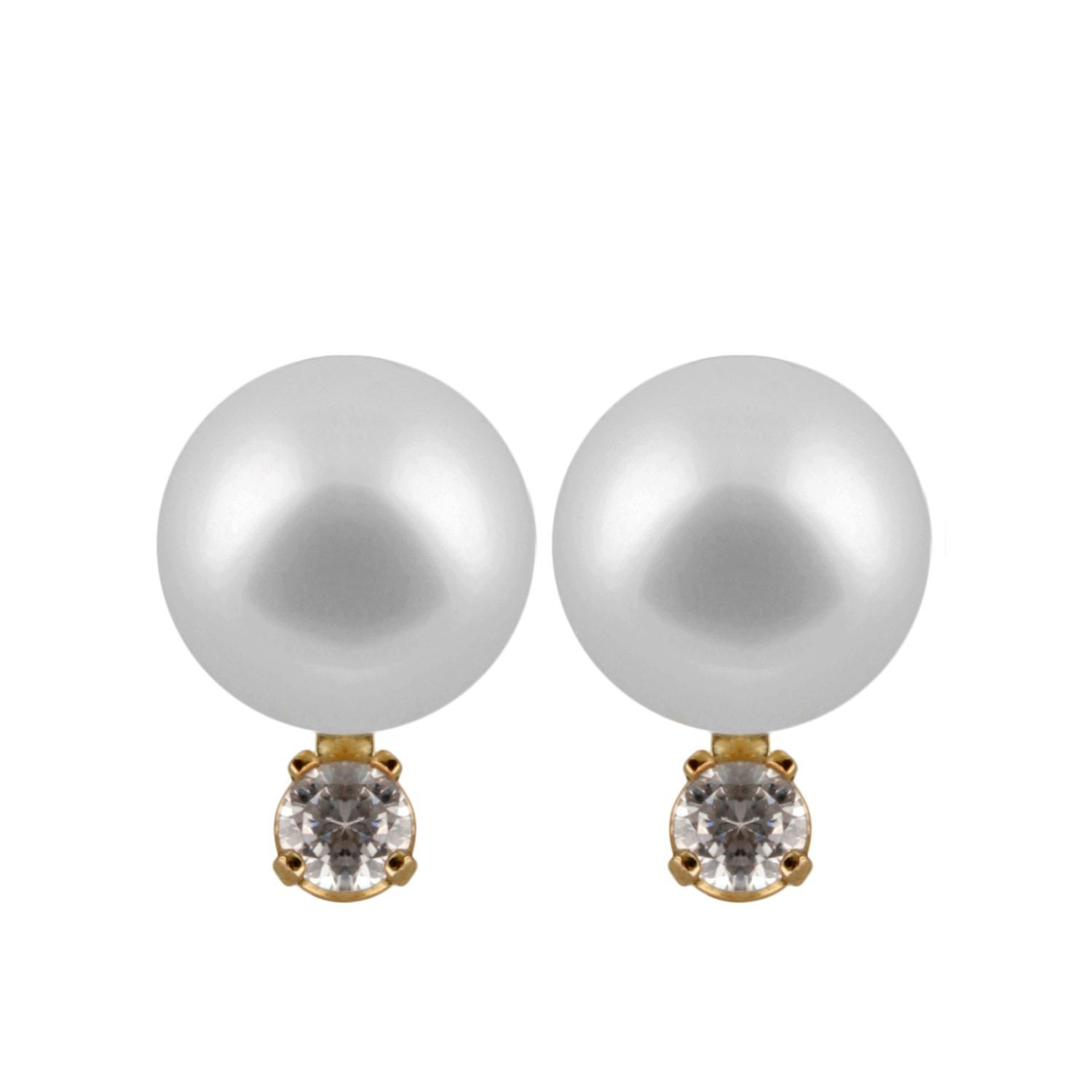 14K Yellow Gold Handpicked AAA Quality Round Genuine White Akoya Japanese Cultured Saltwater Pearl Stud Earrings Set with Diamonds for Women