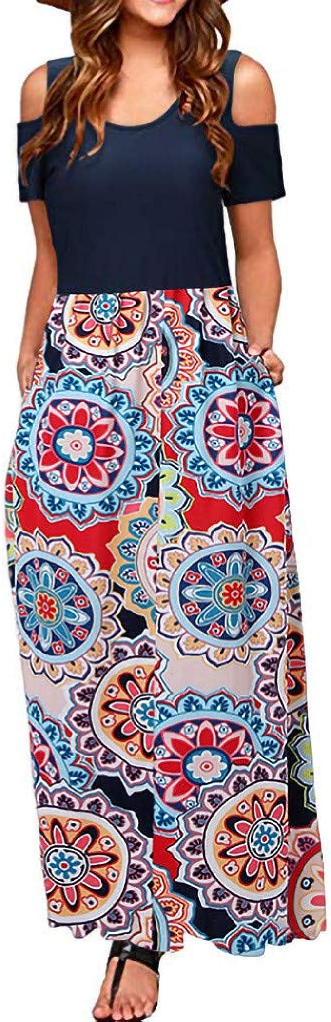 Shusuen Casual Dress for Women Elegant A Line Sleeve V Neck Ruffles Plus Size Casual Maxi Prom