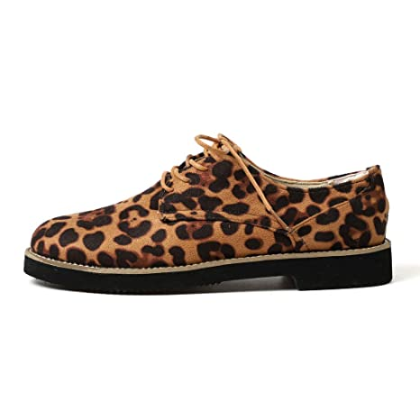 Amazon.com: Women Leopard Print Ankle Flat Suede Casual Lace Up Shoes Single Shoes By Sunsee 2019 Clearance: Clothing