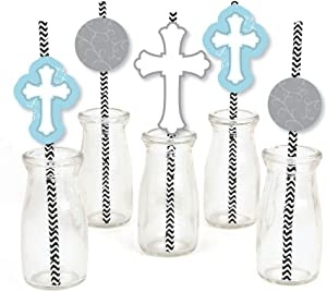 Little Miracle Boy Blue & Gray Cross Paper Straw Decor - Baptism Striped Decorative Straws - Set of 24