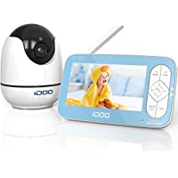 """iDOO Video Baby Monitor with Camera and Audio no WiFi, 5"""" 720P HD Display, Remote Pan/Tilt/Zoom, 900ft Range, Two-Way…"""