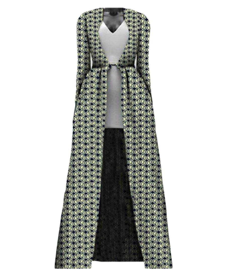Aooword Women Plus Size Longline Cardigan African Print Coat Sexy Trench Coat 6 M