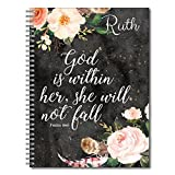 She Will Not Fall Personalized Religious Spiral Notebook/Journal, 120 College Ruled or Checklist Pages, durable laminated cover, and wire-o spiral. 8.5x11 | 5.5x8.5 | Made in the USA