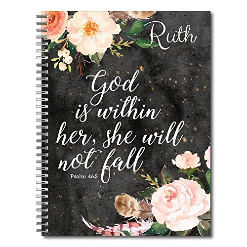 She Will Not Fall Personalized Religious Spiral Notebook / Journal, 120 College Ruled or Checklist Pages, durable laminated cover, and wire-o spiral. 8.5x11 | 5.5x8.5 | Made in the (Love Notes Notebook)
