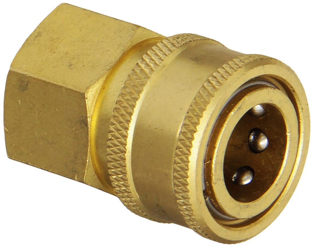 Amflo CST6B Straight-Thru Coupler, 3/8'' FNPT, Brass Plated by Amflo (Image #1)