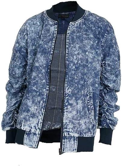 (メンズナーレ) MensNare メンズ 袖シャーリングMA-1 デニム 配色 ケミカル ミリタリー I020110-04