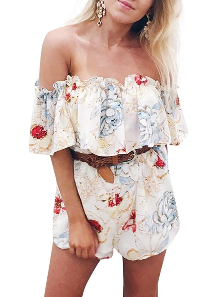 Romacci Sexy Women Off Shoulder Floral Print Jumpsuit Romper Elegant Ruffle Short Playsuit Summer Beach Overalls Beige