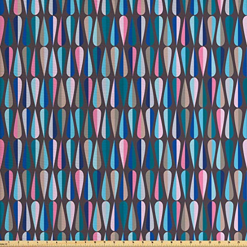 Ambesonne Mid Century Fabric by The Yard, Modern Style Retro Pattern with Droplet Shapes Mosaic in Tones, Decorative Fabric for Upholstery and Home Accents, 2 Yards, Multicolor (Mid Century Modern Fabric)