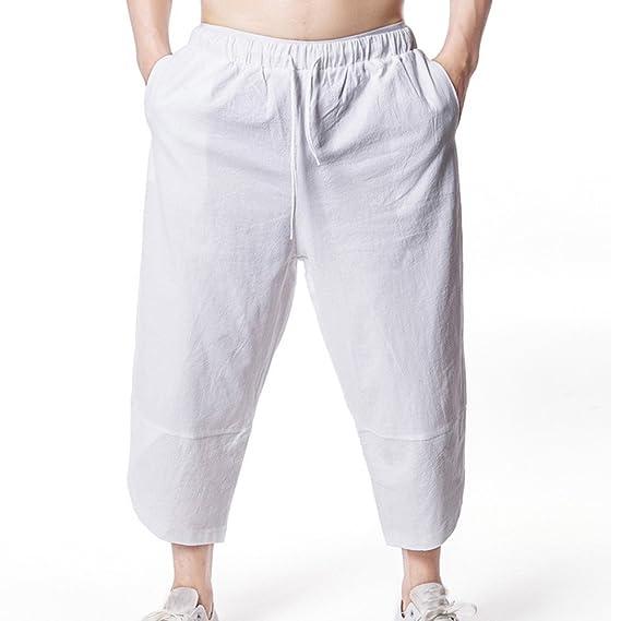 Cebbay Pantalones Hombre Pantalón Lino Hombre Baggy Casual Harem Capri Pantalones  Pantalon Jogger Hombre Pantalones Cortos 5880f89dbead