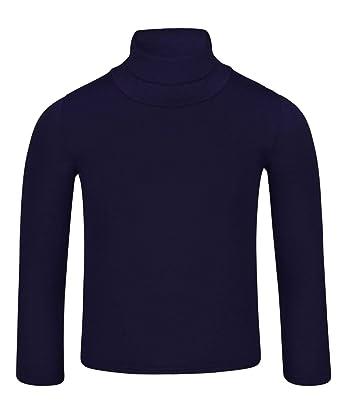 4f38b404187ea LotMart pour Enfants Uni Basique Slim Manches Longues Col Roulé Chemise -  Bleu Marine