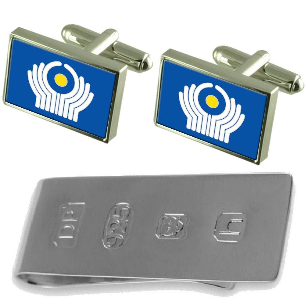 Select Gifts CIS Flag Cufflinks /& James Bond Money Clip