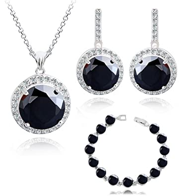 498a3873acd Round Black Zirconia Austrian Crystals Set Pendant Necklace 18