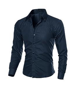 Blouse de Costume pour Hommes, GreatestPAK Chemises d'affaires imprimées à Carreaux de Mode à Manches Longues Chemises Minces